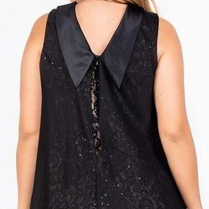 SL Fashions Dresses - Plus Size Sleeveless Chiffon Overlay Lace Dress